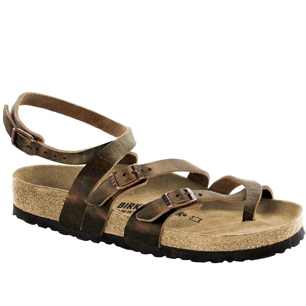 BIRKENSTOCK WOMEN S SANDALS SERES CROSSED AT THE ANKLE REAL LEATHER TOBACCO  BROWN  128fa41f5dd