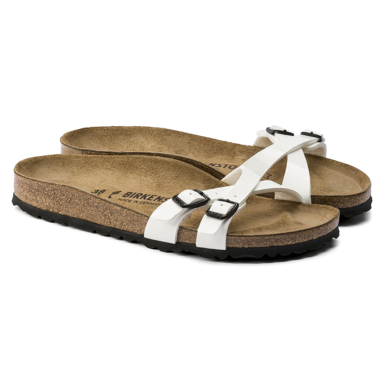 Birkenstock Almere Womens Flip Flops Patent White -8676