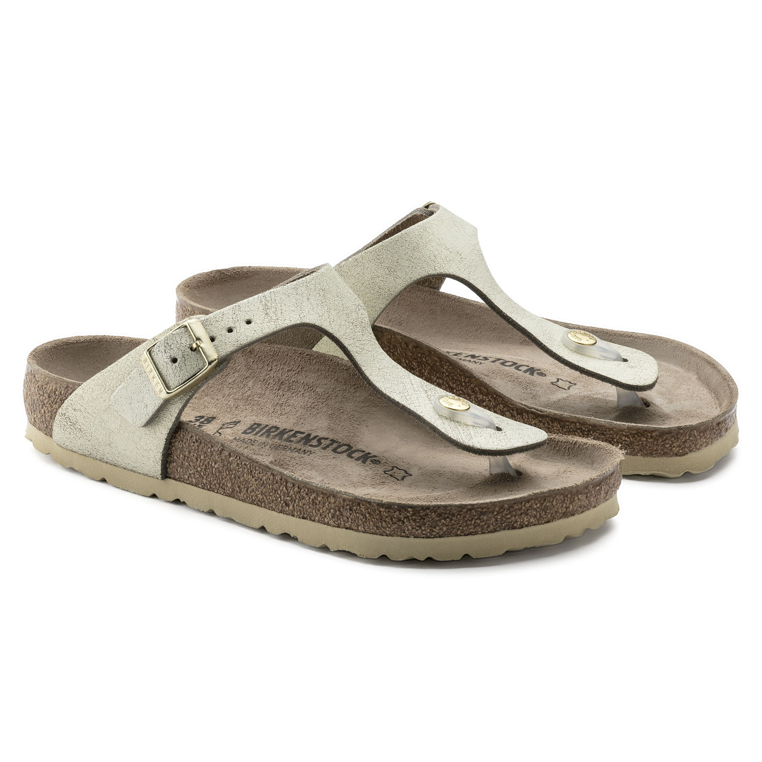 f49d5106a03 BIRKENSTOCK WOMEN S FLIP FLOPS SUEDE LEATHER WASHED METALLIC CREAM GOLD