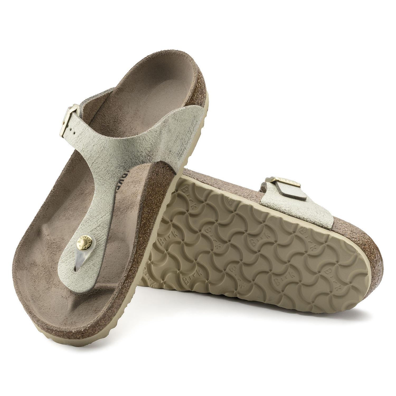 Birkenstock Womens Flip Flops Suede Leather Washed -4113