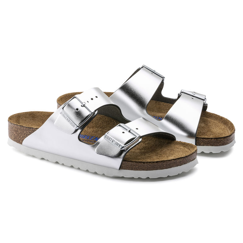 f02edf1e2 BIRKENSTOCK ARIZONA WOMEN S FLIP FLOPS SOFT FOOTBED LEATHER METALLIC SILVER