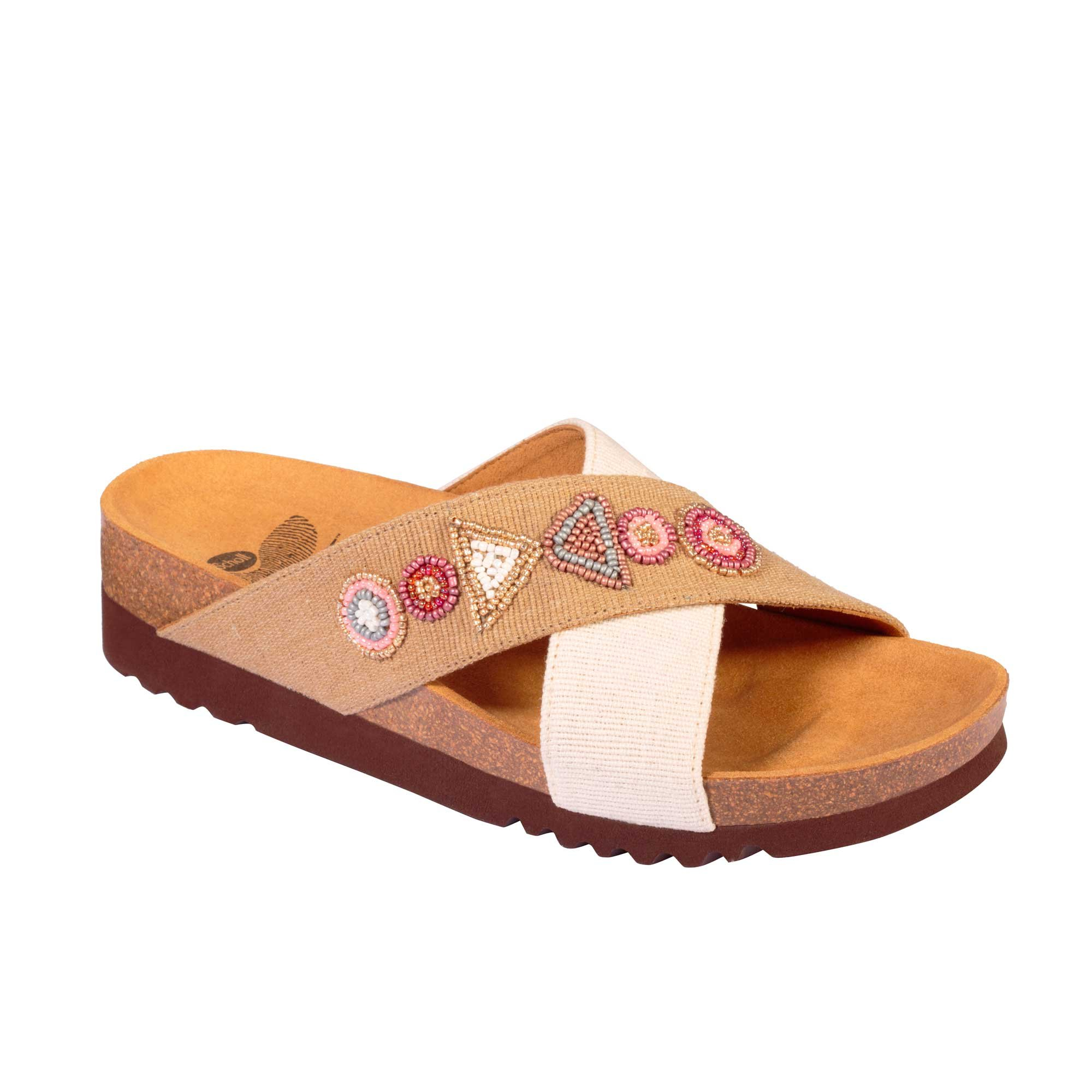 53e9a27f6247 SCHOLL CANVBEADS-W WOMEN S FLIP FLOPS WITH BEEDS WHITE