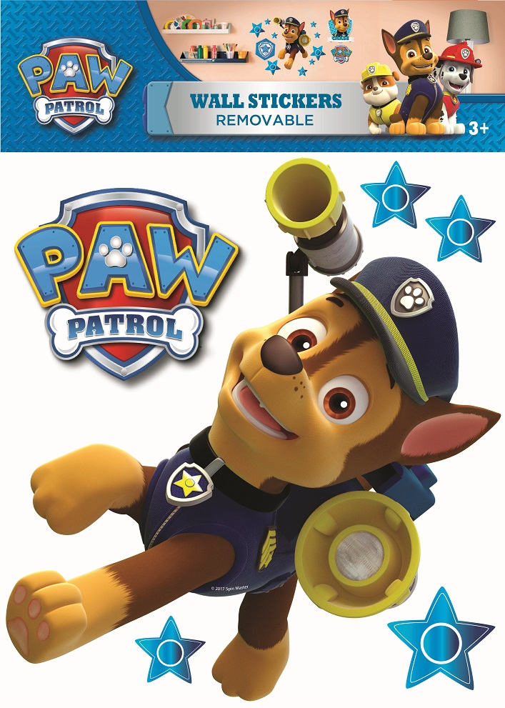 paw patrol adesivo chase adesivi da parete e decorazioni di imagicom imagicom. Black Bedroom Furniture Sets. Home Design Ideas