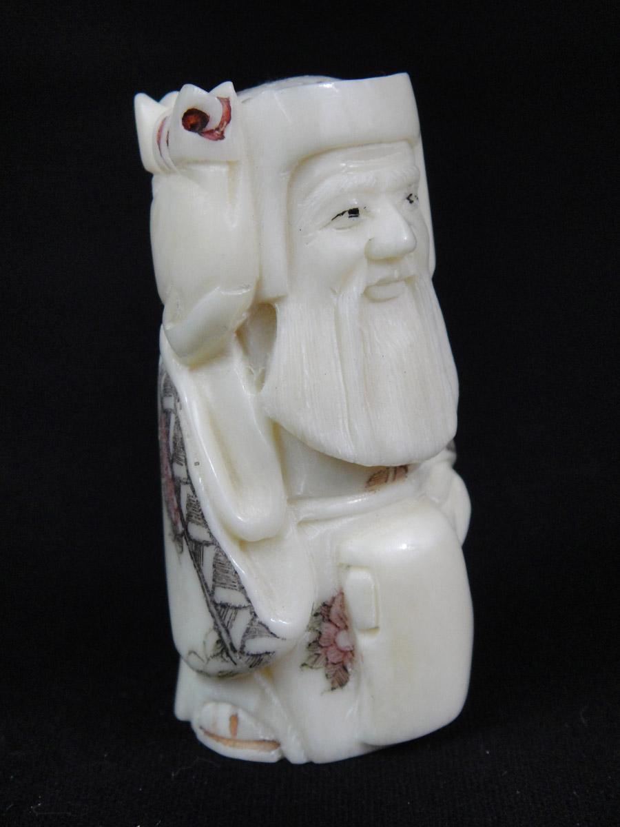 Netsuke Carved Bone Sculpture Wise Sage Man Figure Ref No 0023 La Maison De La Petite Sara