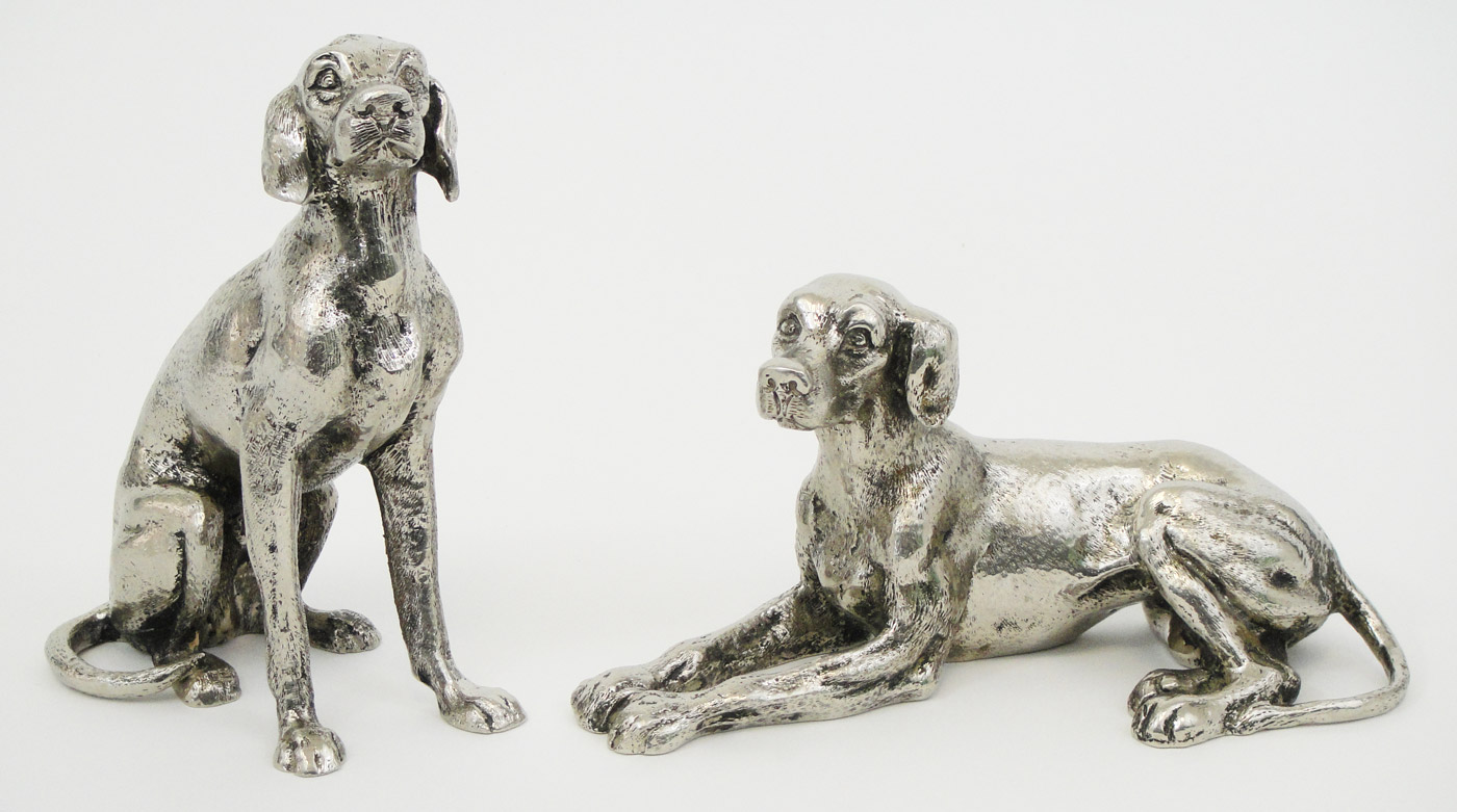 980b53538c45a9 A PAIR OF GUCCI SILVER PLATED METAL DOGS